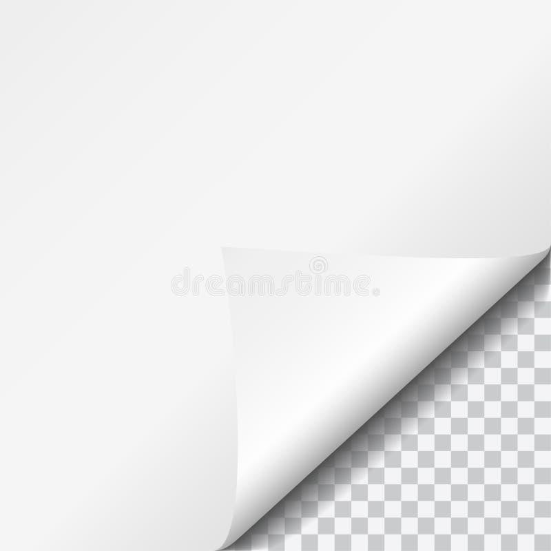 Реалистическая иллюстрация вектора завила угол белой бумаги с прозрачным иллюстрация вектора