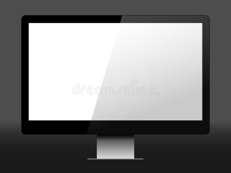 Реалистическая иллюстрация вектора настольного компьютера стоковые изображения rf