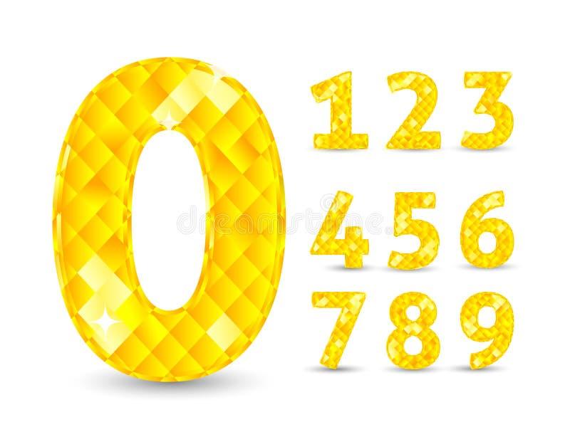 Реалистическая иллюстрация вектора при установленные номера диаманта иллюстрация штока