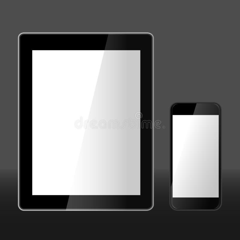 Реалистическая иллюстрация вектора таблетки и умного телефона стоковые изображения rf