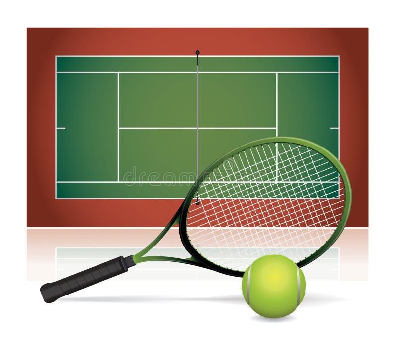Реалистическая иллюстрация теннисного корта с ракеткой и шариком иллюстрация вектора