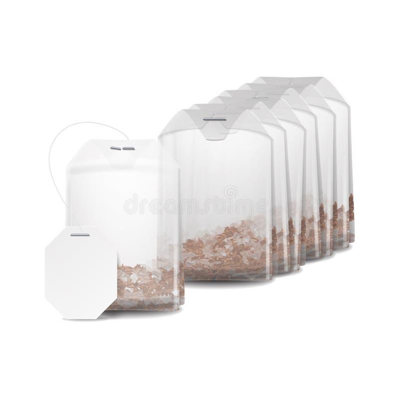 Реалистическая насмешка пакетика чая вверх с пустым белым ярлыком Изолированная иллюстрация вектора бесплатная иллюстрация