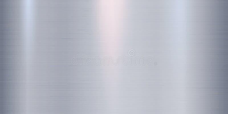 Реалистическая предпосылка текстуры металла с светами, тенями и scraths в голубой подкраске Улучшите для вашего дизайна металлург иллюстрация вектора