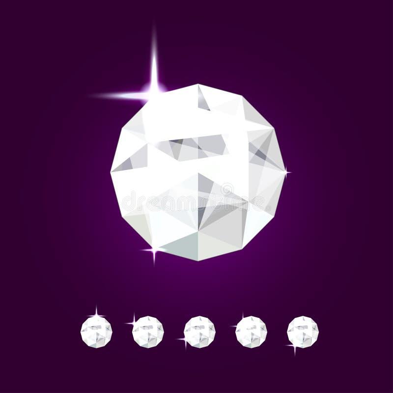 Реалистическая драгоценность диаманта Иллюстрация самоцвета вектора иллюстрация вектора