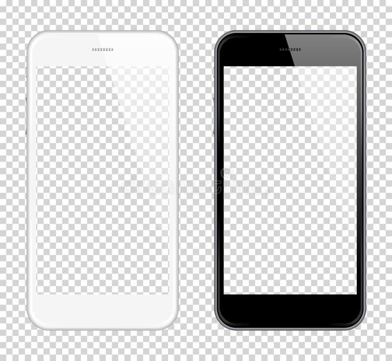 Реалистическая умная насмешка вектора телефона вверх Полно Re-размер-способный Простой способ установить изображение в Smartphone иллюстрация штока