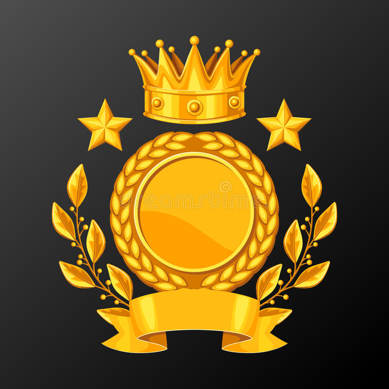 Реалистическая чашка золота с лавровым венком Иллюстрация награды для спорт или корпоративных конкуренций иллюстрация вектора