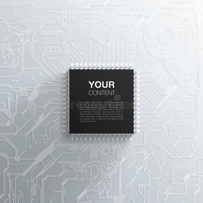 Реалистическая черная микросхема на детальной плате с печатным монтажом иллюстрация вектора