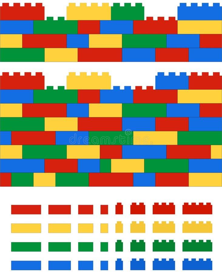 Реалистическая 2D стена lego вектора