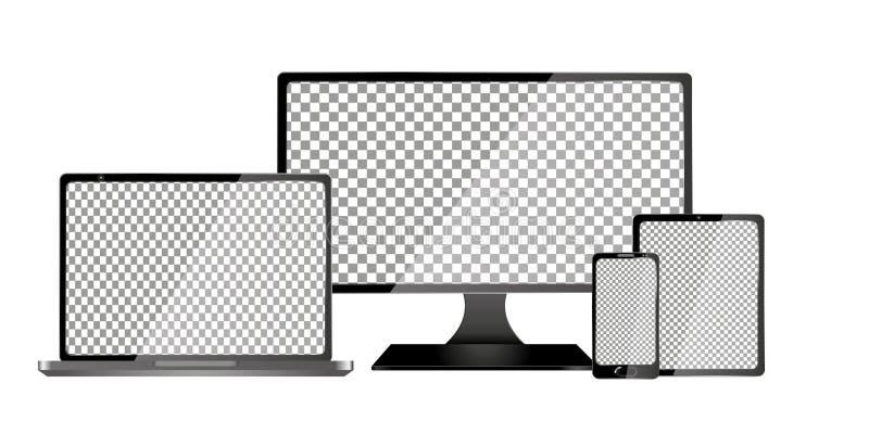Реалистические компьютер, компьтер-книжка, таблетка и мобильный телефон при прозрачный изолированный экран обоев Комплект модель- иллюстрация штока