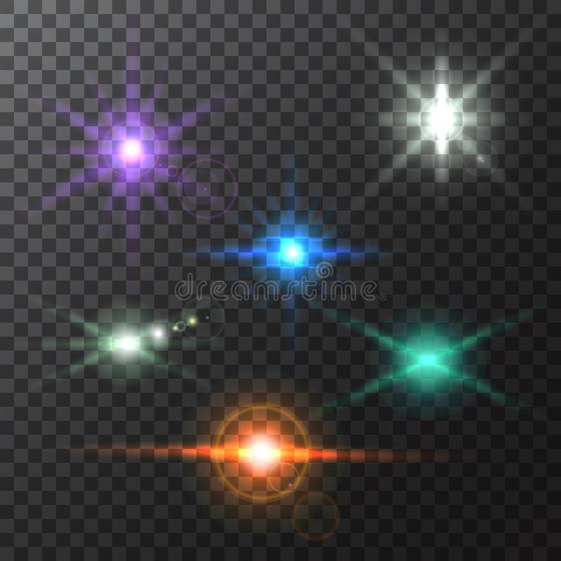 Реалистические красочные яркие лучи и вспышки пирофакелов объектива на прозрачном фоне иллюстрация штока