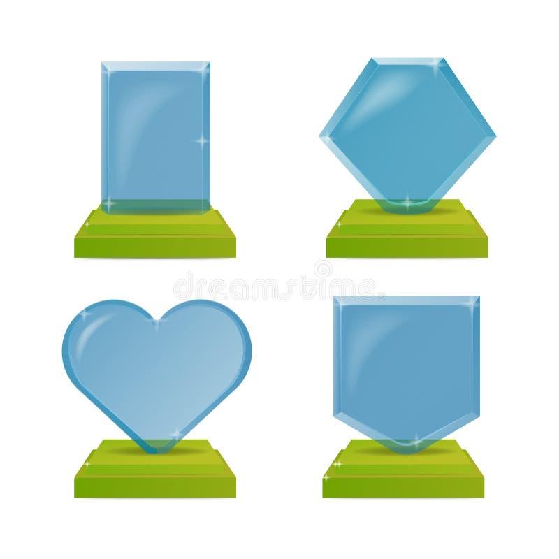 Реалистические награды трофея голубого и зеленого стекла белизна cogwheel предпосылки изолированная иллюстрацией Графическая конц бесплатная иллюстрация