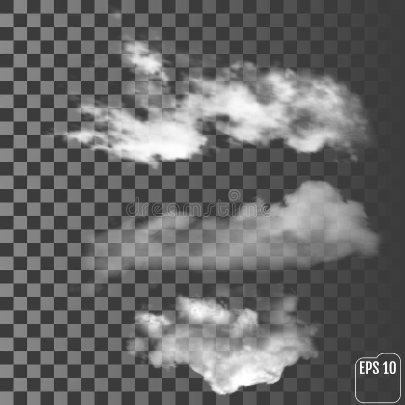 Реалистические облака на прозрачной предпосылке бесплатная иллюстрация