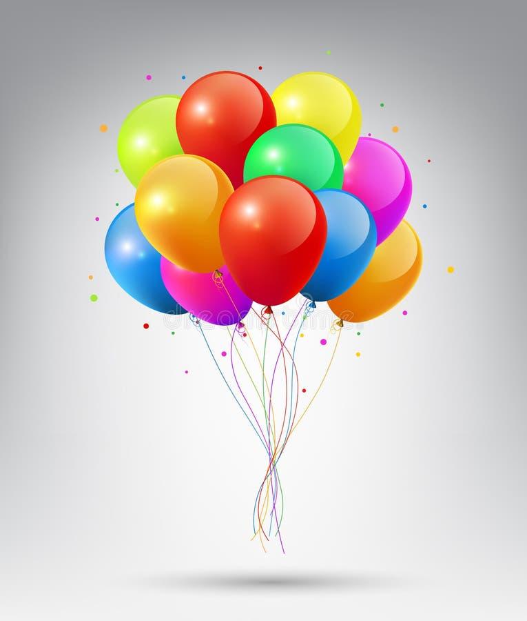 Реалистические лоснистые красочные воздушные шары летая с концепцией партии и торжества на белой предпосылке иллюстрация вектора