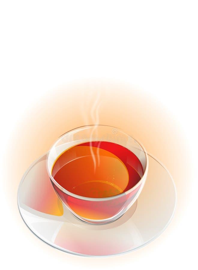 Реалистические стеклянные чашка и поддонник чая с паром бесплатная иллюстрация