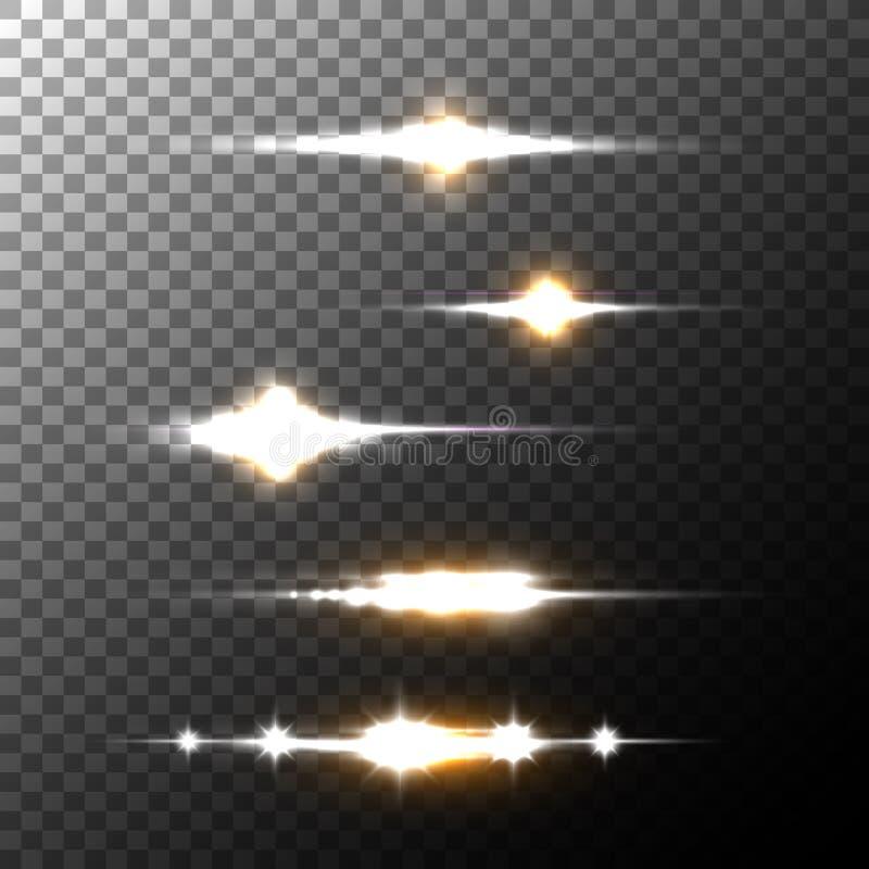 Реалистические лучи и вспышки пирофакелов объектива на прозрачной предпосылке бесплатная иллюстрация