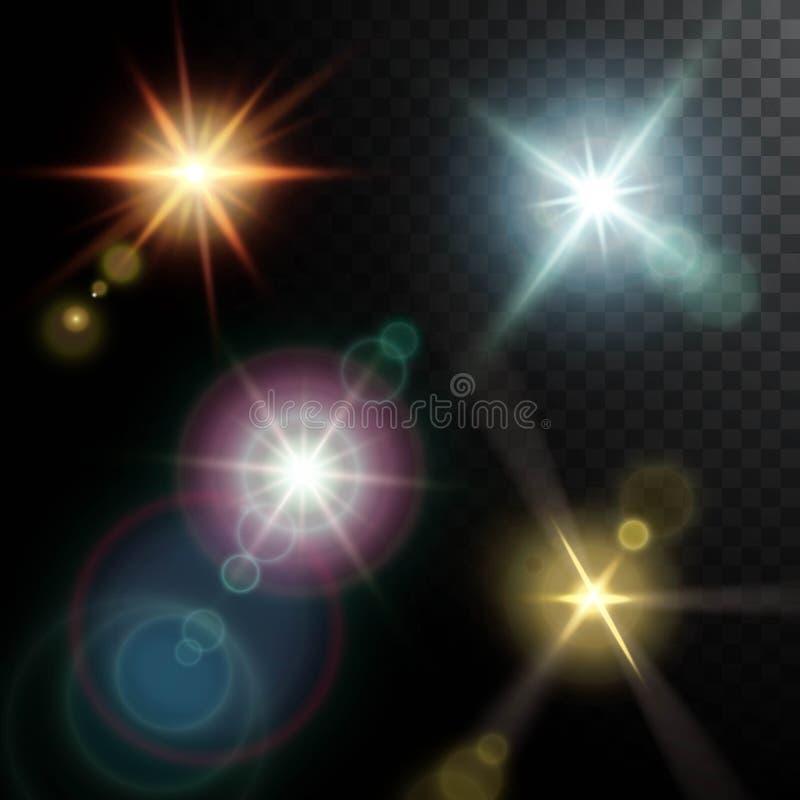 Реалистические лучи пирофакелов объектива иллюстрация штока