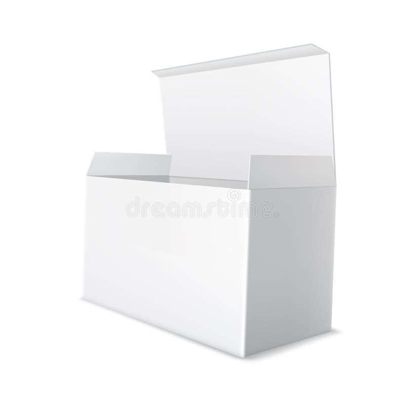 Реалистический белый пакет картона Открытая, пустая пустая коробка иллюстрация штока