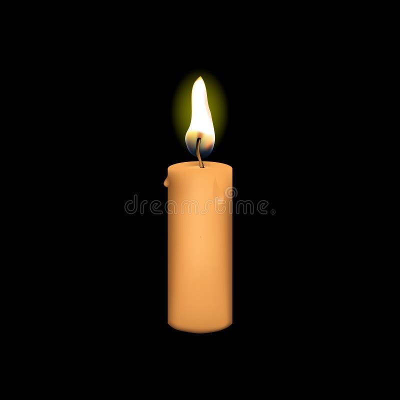 Реалистический вектор свечи с черной предпосылкой стоковое изображение