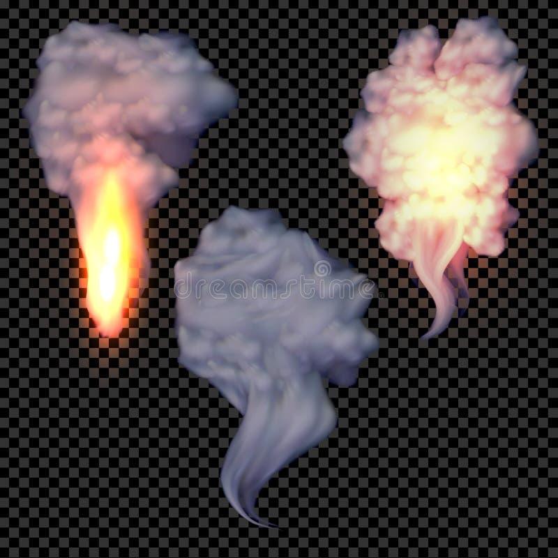 Реалистический вектор дыма и огня установленный на прозрачной предпосылке иллюстрация вектора