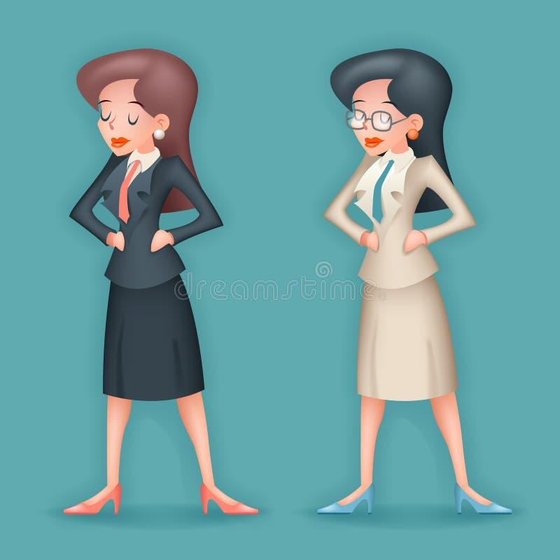 Реалистический винтажный значок характера коммерсантки 3d на иллюстрации вектора дизайна шаржа стильной предпосылки ретро иллюстрация штока
