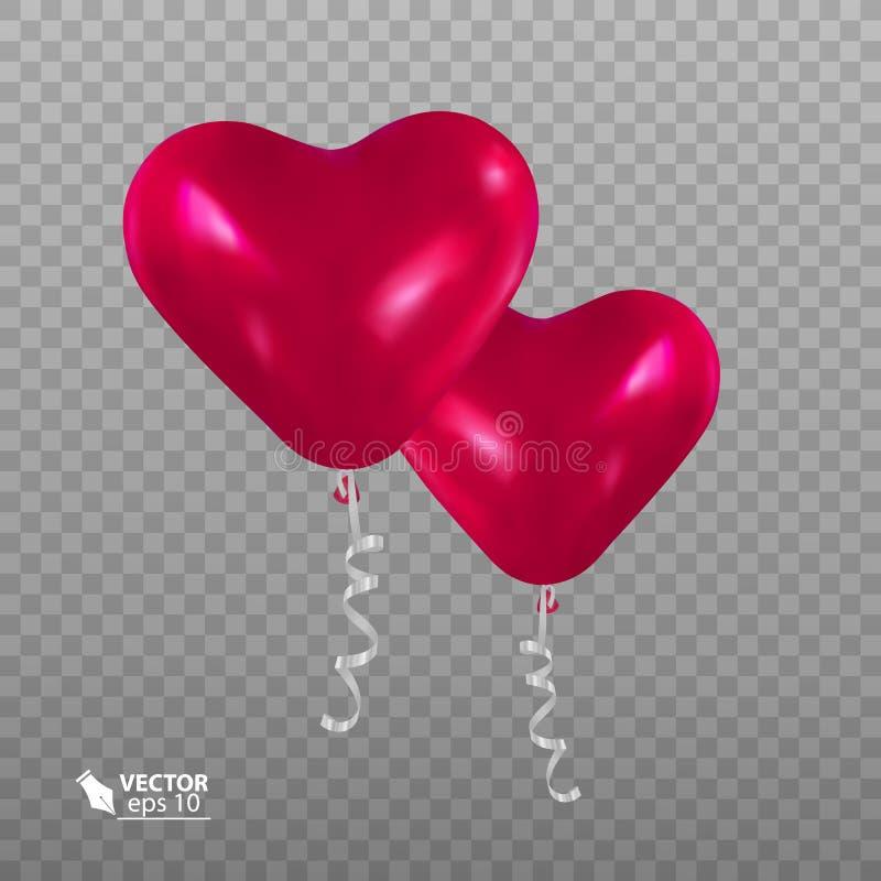 Реалистический воздушный шар в форме сердца иллюстрация штока