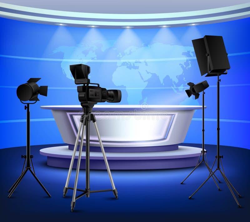Реалистический голубой интерьер студии новостей бесплатная иллюстрация