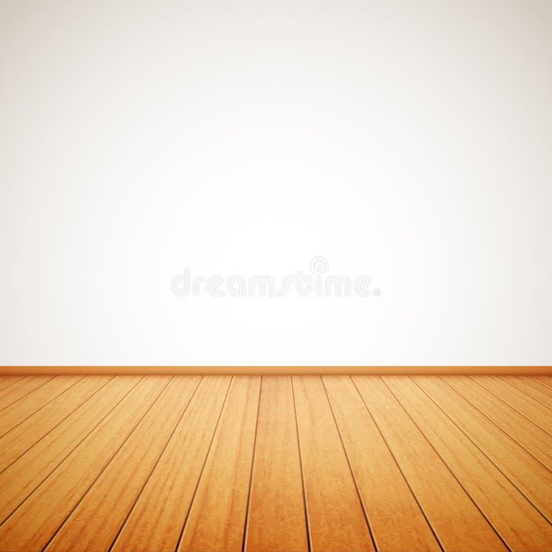 Реалистический деревянный пол и белая стена иллюстрация вектора