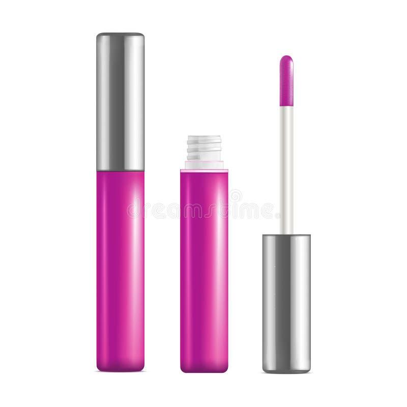 Реалистический детальный розовый комплект лоска губы открытый и близкий вектор иллюстрация штока