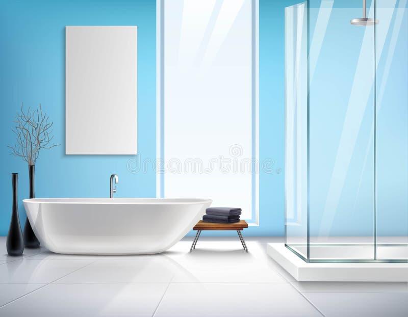 Реалистический дизайн интерьера ванной комнаты бесплатная иллюстрация