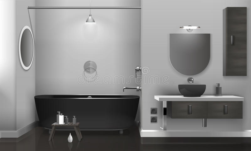 Реалистический интерьер ванной комнаты с 2 зеркалами бесплатная иллюстрация