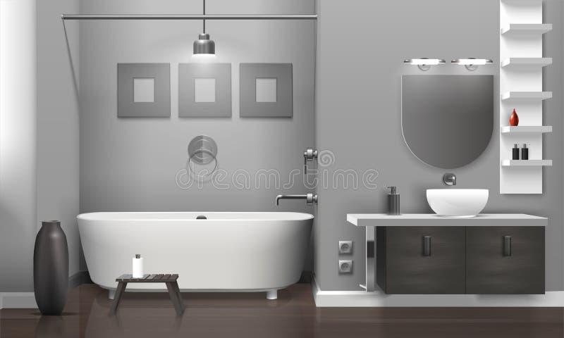 Реалистический интерьер ванной комнаты иллюстрация штока