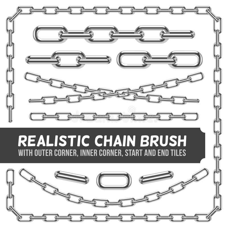 Реалистический комплект цепи металла, цепи вектора серебряные иллюстрация штока