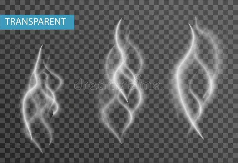 Реалистический комплект дыма изолированный на прозрачной предпосылке Сигарета, влияние пара также вектор иллюстрации притяжки cor иллюстрация вектора