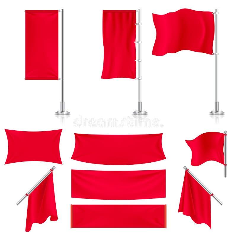Реалистический красный комплект вектора знамен и флагов ткани ткани рекламы иллюстрация вектора