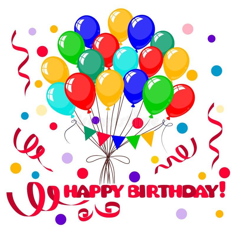 реалистический красочный пук 3d воздушных шаров дня рождения иллюстрация штока
