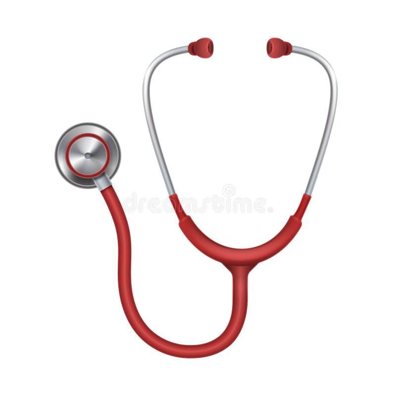 Реалистический медицинский стетоскоп, phonendoscope изолированное на белой иллюстрации вектора предпосылки иллюстрация штока