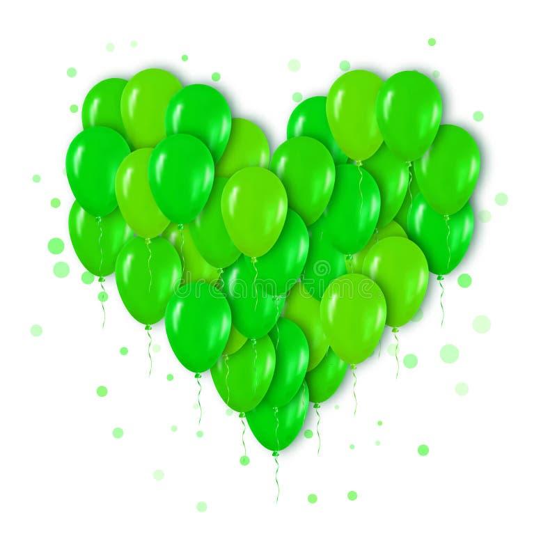 Реалистический неоновый зеленый пук 3d воздушных шаров летая для партии иллюстрация штока