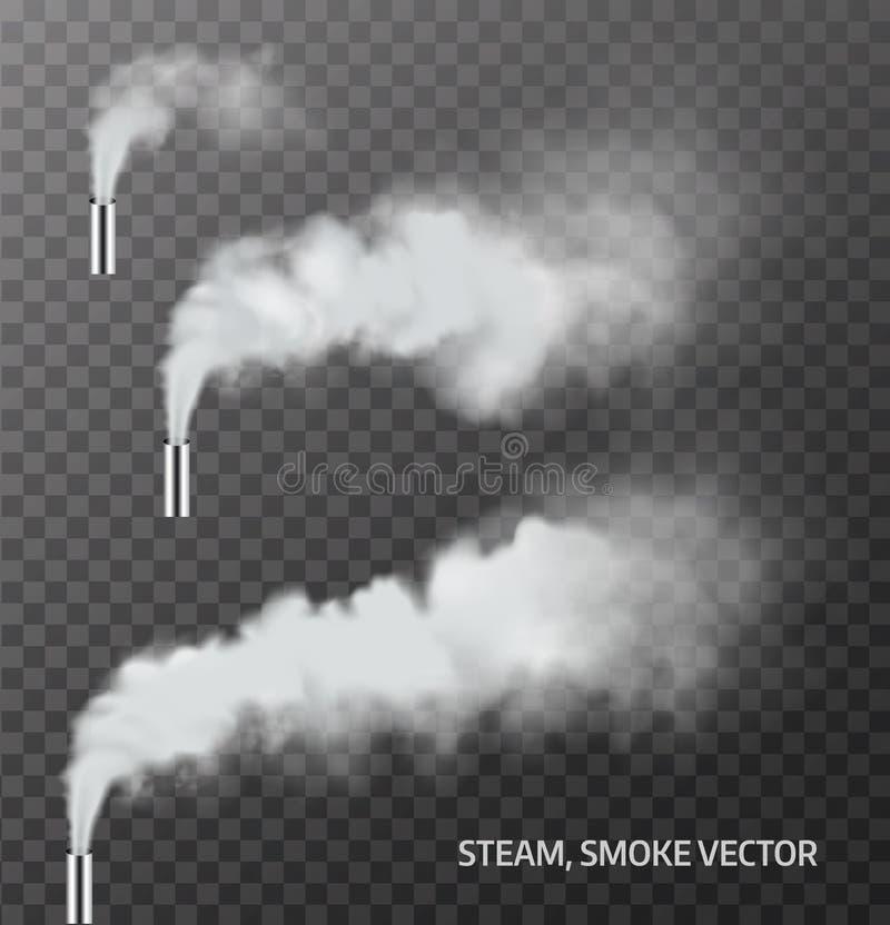 Реалистический пар, труба дыма на прозрачной предпосылке вектор иллюстрация вектора