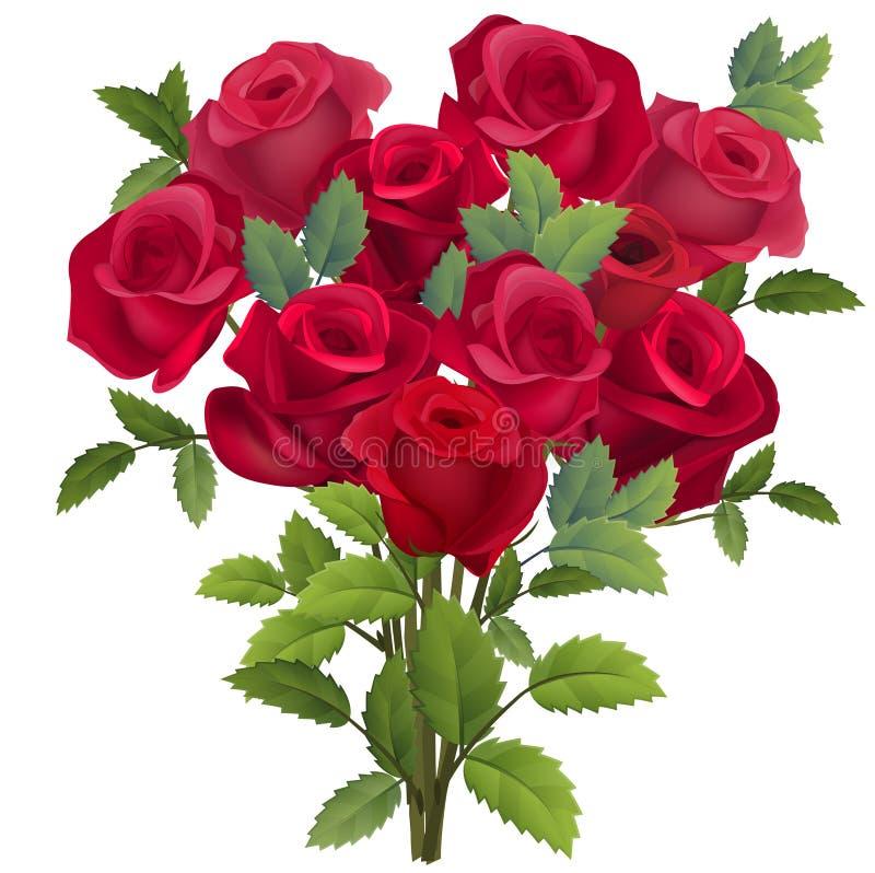 Реалистический пук красных роз иллюстрация вектора