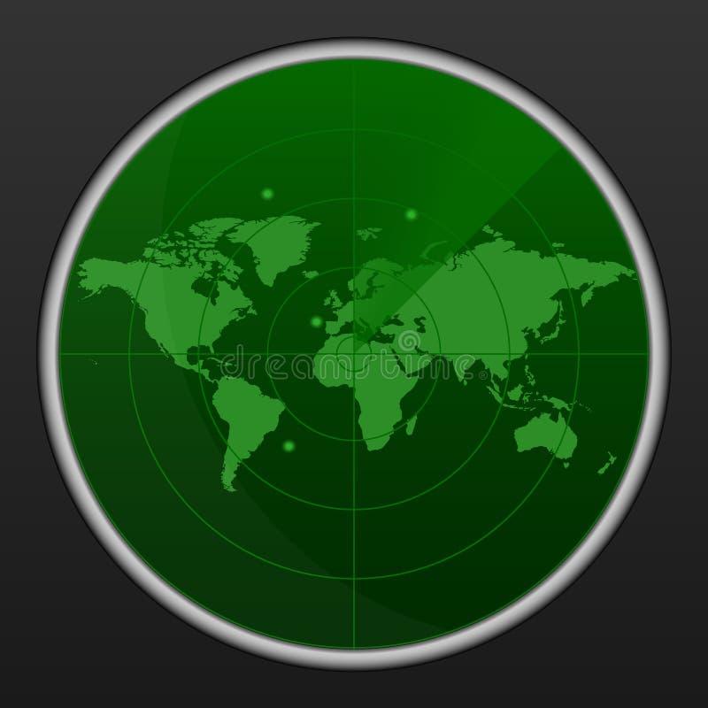 Реалистический радиолокатор в искать Воздушный поиск Иллюстрация отметки цели воинской поисковой системы Обои интерфейса навигаци бесплатная иллюстрация