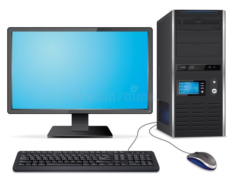 Реалистический случай компьютера с монитором, клавиатурой и мышью иллюстрация штока