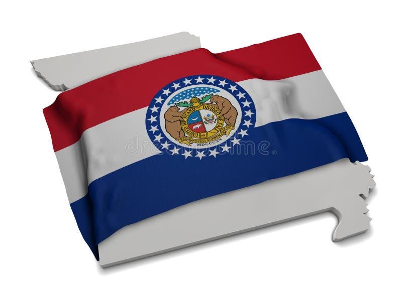 Реалистический флаг покрывая форму Миссури (серии) стоковая фотография