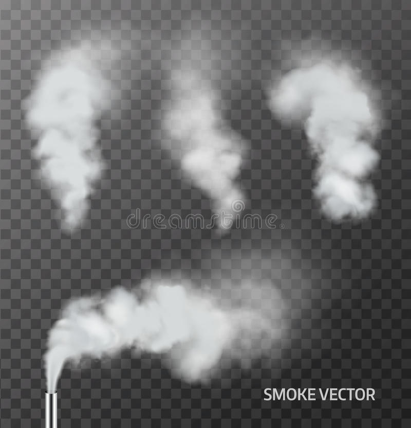 Реалистический дым, пар на прозрачной предпосылке вектор иллюстрация штока