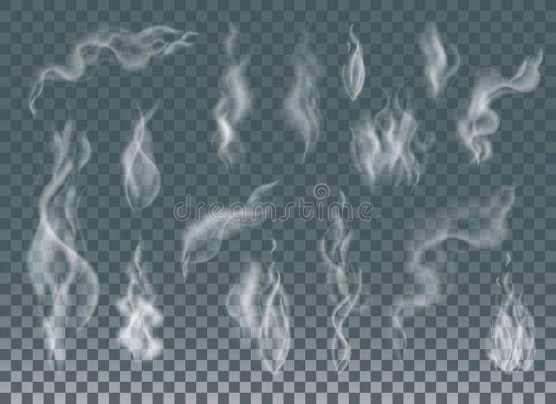 Реалистический дым сигареты развевает или пар на прозрачной предпосылке бесплатная иллюстрация