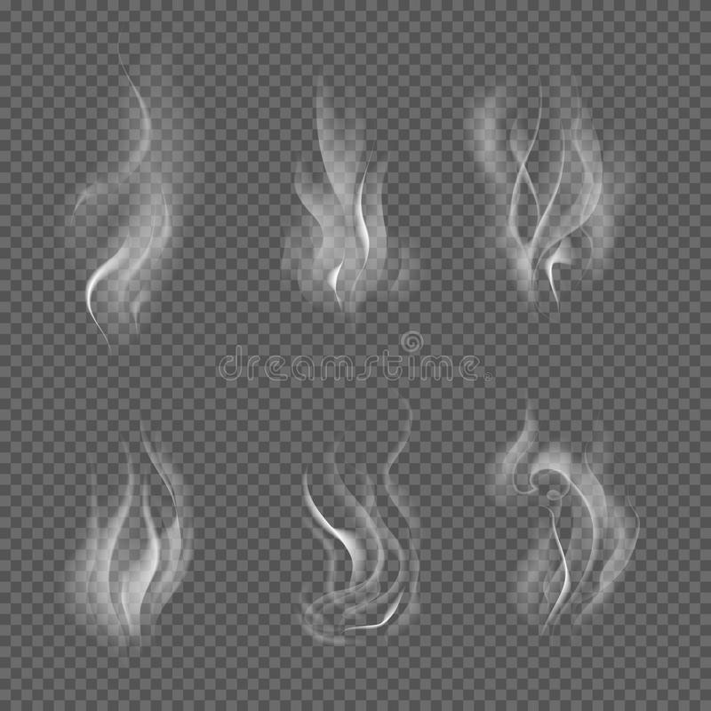 Реалистический дым сигареты развевает на прозрачной checkered предпосылке также вектор иллюстрации притяжки corel иллюстрация вектора