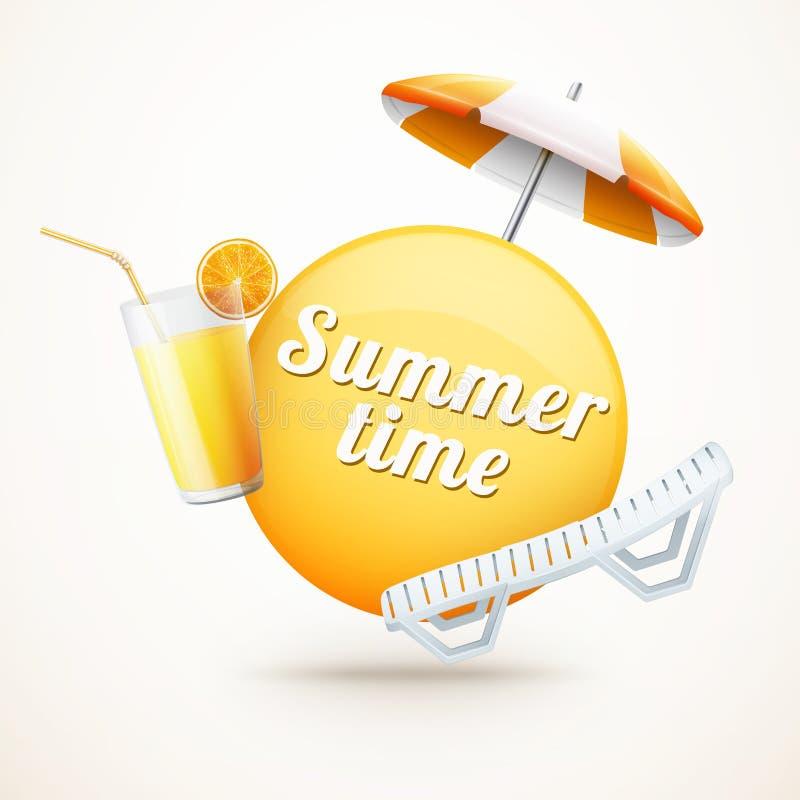 Реалистический ярлык лета с апельсиновым соком, зонтиком и пляж-декабрем бесплатная иллюстрация