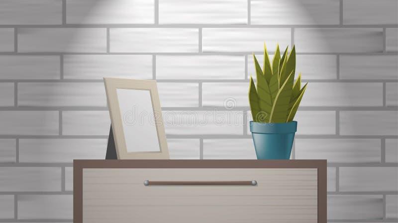 Реалистический woden насмешка картинной рамки вверх и зеленый домашний завод стоя на commode иллюстрация вектора