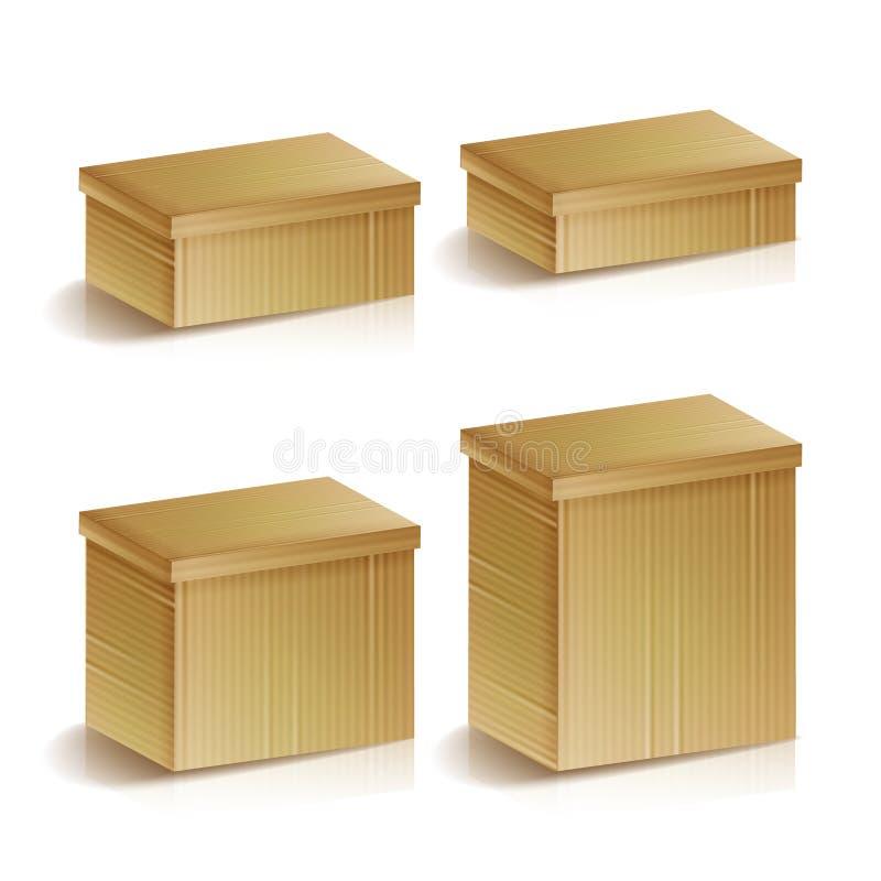 Реалистическими установленная картонными коробками изолированная иллюстрация вектора Концепция поставки и упаковки Пакет коробки, иллюстрация штока