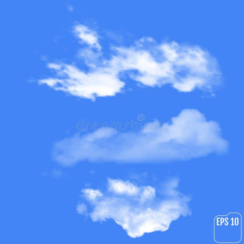 3 реалистических облака на небесно-голубой предпосылке Illustra вектора бесплатная иллюстрация