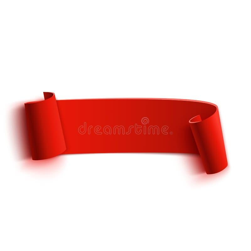 Реалистическое детальное изогнутое красное бумажное знамя, лента бесплатная иллюстрация